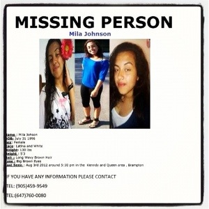 Bramptons Missing Teen Mila Johnson